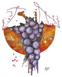 grapes, elena yakubovich, floral, nature, garden, delicate, watercolor, botanical, old garden, nature paint, paintings for sale, print on demand, greeting cards, botanical painting, botanical art, botanic, plants, foliage, leaf, leafage, frondage, Indian summer, wine, leaves, wine, bottle, grape, cup, wine, winy, vinous, vinic