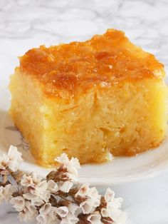Syrup soaked traditional Greek orange cake.