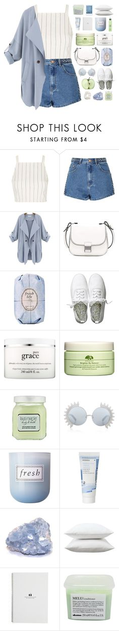 """""""White Camillia"""" by vip-beauty ❤ liked on Polyvore featuring Topshop, Glamorous, Proenza Schouler, Fresh, H&M, philosophy, Origins, Laura Mercier, Linda Farrow and Korres"""