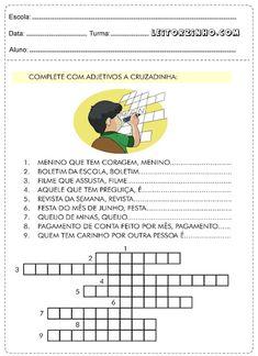 Atividades de Português 4° ano adjetivos — SÓ ESCOLA Portuguese Grammar, Diagram, Education, Lp, Pasta, Atvs, Camila, Pedi, Gabriel