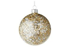 "S/4 3"" Bugle Bead Ornaments, Gold"