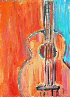 Guitar painting, print on paper of original oil painting, GUITAR, modern artwork by Elisaveta Sivas, oil on canvas, 30 x 42 cm. €7.00, via Etsy.