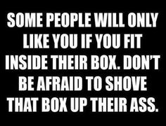 Some people will only like you if you fit inside their box. Don't be afraid to shove that box up their ass. Quotes Of The Day – 11 Pi