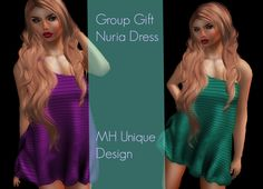 Nuria Dress Four Colors Free Gift. Second Life. The dress I am wearing on the photo is a free group gift. It is just in front of you when you enter the