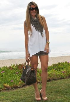 Sweet look…near the beach  , G.M.Alessandro Simoni in Scarves / Echarpes, G.M.Alessandro Simoni in T Shirts, G.M.Alessandro Simoni in Pants, Bershka in Heels / Wedges, Louis Vuitton in Bags