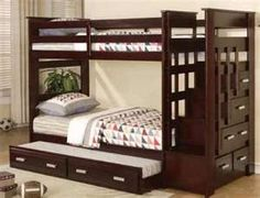 Fancy bunk beds with stairs and drawers