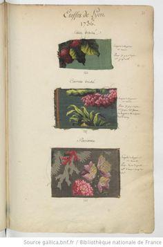 * Etoffes de Lyon // 1736 Satin broché, Carrelle broché, Persienne - Echantillons d'étoffes et de rubans recueillis par le Maréchal de Richelieu