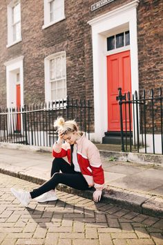 Jessica Whitaker topshop valentine's day outfit. Vintage red and pink puffer bomber jacket in London