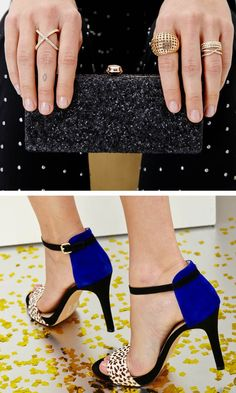 Open toe heel + Black sparkle clutch