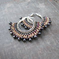 Boho beaded hoops - sterling silver with gunmetal gray, pink and golden beads