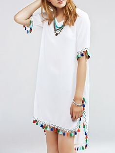 Women's Graceful Multicolor Fringed Furcal Dress Cheap Fashion online retailer providing customers trendy and stylish clothing including different categories such as dresses, tops, swimwear. Stylish Dresses, Stylish Outfits, Casual Dresses, Summer Dresses, Beach Dresses, White Outfits, Sexy Dresses, Evening Dresses, Summer Outfits