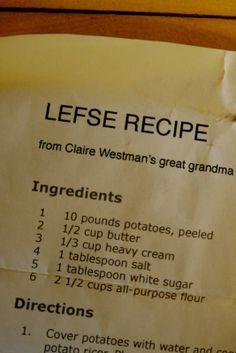Griggs Dakota: Recipe: Grandma Esther's Lefse Recipe Read Recipe by blizlady Old Recipes, Vintage Recipes, Gourmet Recipes, Vegan Recipes, Cooking Recipes, Barbecue Recipes, Cooking Tips, Norwegian Cuisine, Norwegian Food