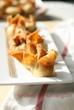 Smoked Salmon Rangoon from The Little Kitchen (I would add a little garlic to this recipie like you would for regular crab rangoon)