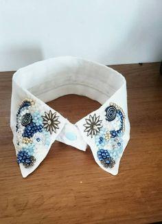 Retrouvez cet article dans ma boutique Etsy https://www.etsy.com/fr/listing/513221879/col-de-chemise-blanc-bleu
