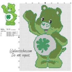 Good Luck Bear Care Bears character free cross stitch pattern 70 x 99 stitches 6 DMC threads
