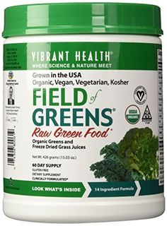 awesome Vibrant Health - Field of Greens, 100% Organic Greens and Freeze Dried Grass Juices, 60 servings (FFP)