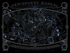 Glow-in-the dark illustrated constellation chart of the Northern Hemisphere  $50