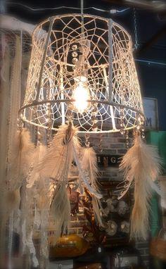 Dream Catcher Chandelier #zencowgirl #dreamcatcher #chandelier #chandy #oneofakind #handmade #feather