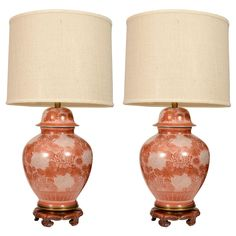 1stdibs - Pair of Cinnabar Chrysanthemum Porcelain Lamps by Marbro explore items from 1,700  global dealers at 1stdibs.com