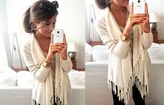 Fringe cream cardigan with black tights