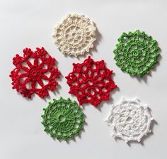Set of 6 Small Lace Doilies Crocheted Red White Ecru by MaddaKnits
