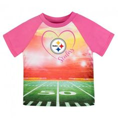 Steelers Silky Girl's T-Shirt (12M, 18M, 2T, 3T & 4T) $9.99  Official NFL Licensed Steelers silky t-shirt for baby, toddler & preschoolers. Bright sublimation print with Steelers logo, field & heart covers the whole front of the tee. Cute color-block raglan sleeves. Makes a great gift. Solid pink on the back. Machine washable 100% polyester. 12 months, 18 months, 2T, 3T, & 4T.  steelers-nfl-sublimation-toddler-tee-football-field-pink.jpg