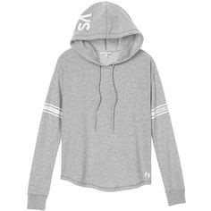 Victoria's Secret Shirttail Hoodie ($50) ❤ liked on Polyvore featuring tops, hoodies, outerwear, shirts, sweaters, hooded sweatshirt, hooded pullover, hoodie shirt, victoria secret shirts and colorful shirts