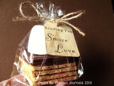 100 Hand Stamped Tags. Hand Stained. SENDING YOU S'more Love. Smores. Smore. DIY Wedding. Wedding Tags. Vintage Wedding. Wedding Favors.