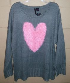 Heart N Crush NEW Crew Neck Sweater Gray PINK Heart Love RARE Plus 2X