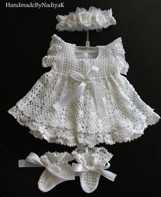 Charming christening dress set. Baptism. by HandmadebyNadiyaK, $125.00