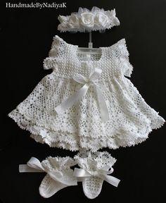 Charming christening dress set. Baptism. by HandmadebyNadiyaK, $125.00