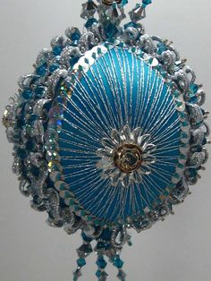 Silver Rose A Finished Hand Made Beaded Satin Ornament With