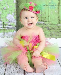 Hot Pink & Lime Green Tutu with Top Hat from The Couture Baby