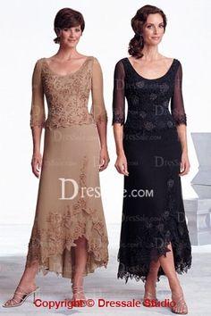 Scoop Neckline Long Illusion Sleeves Applique Flower New Dress, Quality Unique Mother of the Bride Dresses - Dressale.com