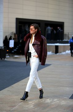 New York Fashion Week, Fall/Winter 2014-2015 - Danielle in total white - outfit - streetstyle