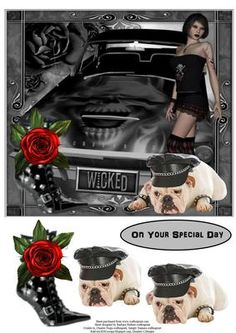This is a gothic inspired card topper with decoupage layers, perfect for a young person who is into gothic  The sentiment tag says,  On Your Special Day.