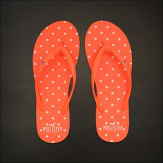 Hollister Bettys Flip Flops Classic Beach Flip Flops Neon Orange Dot