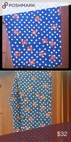 Brand New os lularoe leggings polka dot bows Navy blue background with polka dots and bows LuLaRoe Pants Leggings