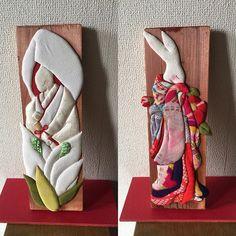板に押絵シリーズ2点です。カラーと花嫁(前に投稿したのと同じものを新たに作りました)、椿です。今頃は仙台で皆さんに見てもらっていることでしょう。#板#押絵#千日紅祭#仙台#明日(18日まで)