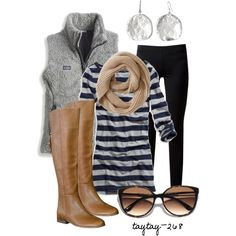 Legging weather is on its way:) Add boots and a scarf and off you go:) Vests are so comfy and not as bulky as coats. This vest really sparks up the look:)