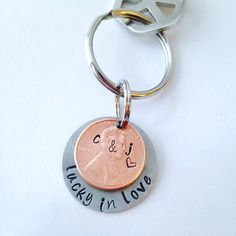 Hand Stamped Penny Key Chain Lucky in Love Key by UniquelyImprint