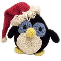 "Howie the Holiday Penguin / easy / meas. 7.5"" tall / make him festive with hat or leave it off - your choice ~ FREE CROCHET pattern"