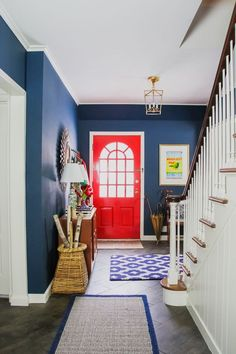 Preppy Navy Entryway, Red Front Door, Colorful Foyer Benjamin Moore Washington Blue, Million Dollar Red
