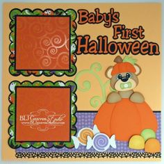 ELITE4U Lisa Premade Scrapbook Page Paper Piecing 4 Album Baby's First Halloween | eBay