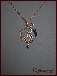 Wire wrapped pendant / Copper wirewrap necklace / Amethyst