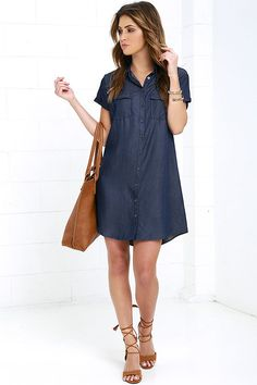 Test your style IQ with the Glamorous Scholastic Dark Blue Chambray Shirt Dress! A classic button-down collar tops this soft, woven shirt dress with a relaxed-fit bodice, and cuffed short sleeves. Front flap pockets.