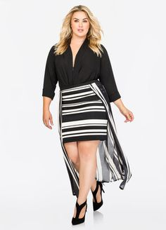 Hi-Lo Stripe Maxi Skirt Hi-Lo Stripe Maxi Skirt