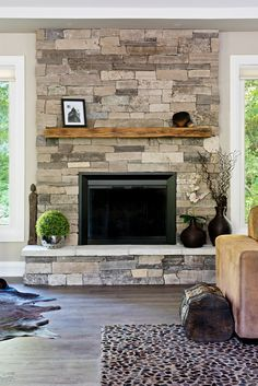 Stone Fireplace- St. Clair Ledge Stone, Natural Stone Veneer https://