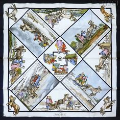PHOTOS HERE / Designer/Artist / Loic Dubigeon - Hermes scarf designs indexed by title - artist - theme - year - color - search by keyword - tag - album for identification & reference. Silk Scarves, Hermes Scarves, Hermes Paris, Scarf Design, Neckerchiefs, Gallery Wall, Quilts, Artist, Pattern
