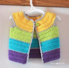 Cap Sleeve Cardigan Crochet Pattern - Repeat Crafter Me Crochet Baby Sweaters, Crochet Cardigan Pattern, Crochet Baby Clothes, Baby Knitting, Crochet Patterns, Gilet Crochet, Crochet Jacket, Knit Crochet, Free Crochet